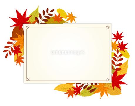 秋の紅葉とポストカードのイラスト素材 [FYI01264018]