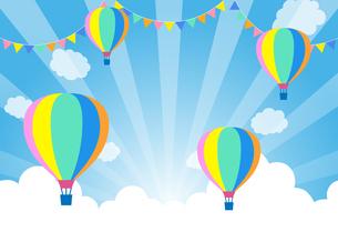 青空とパーティー飾りと気球のイラスト素材 [FYI01264628]