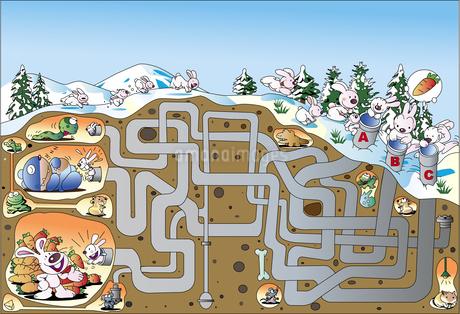 ウサギの冬眠している穴にたどり着く迷路のイラスト素材 [FYI01264890]
