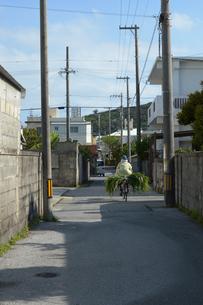 動物のエサを自転車で運ぶ人の写真素材 [FYI01264943]