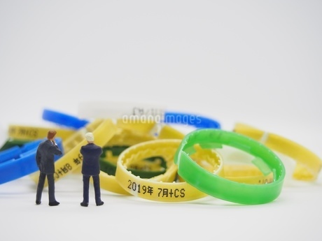 プラスチックゴミを見つめる二人のビジネスマンの写真素材 [FYI01265490]