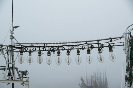 朝の漁港の集魚灯の写真素材 [FYI01265601]