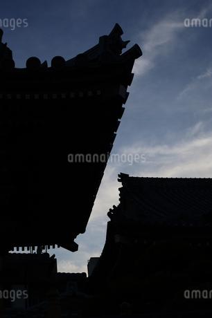 日本風の建築物のシルエットの写真素材 [FYI01265621]