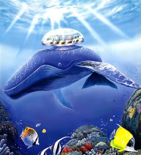 クジラの水中観覧船のイラスト素材 [FYI01265689]