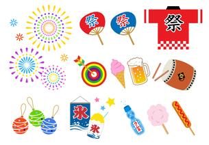 夏祭りのアイコンセット のイラスト素材 [FYI01265828]