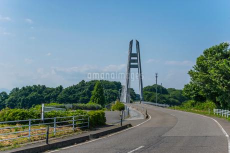 ダムに架かる吊り橋の写真素材 [FYI01265921]
