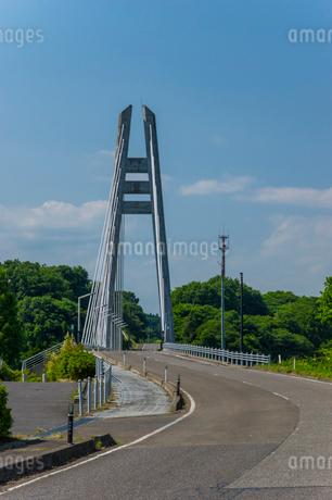 ダムに架かる吊り橋の写真素材 [FYI01265922]