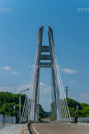 ダムに架かる吊り橋の写真素材 [FYI01265923]