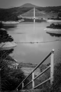 三春ダムと春日大橋の写真素材 [FYI01265938]