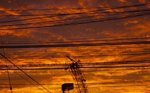 横浜の夕暮れの空の写真素材 [FYI01266069]