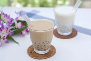 タピオカミルクティーとココナッツミルクの写真素材 [FYI01266342]