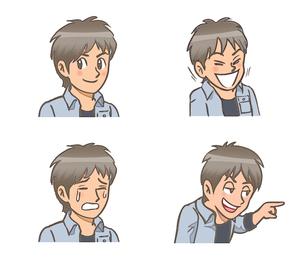 少年の表情 普段、笑う、泣く、からかうのイラスト素材 [FYI01266443]