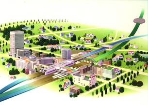 地方都市の立体マップのイラスト素材 [FYI01266461]