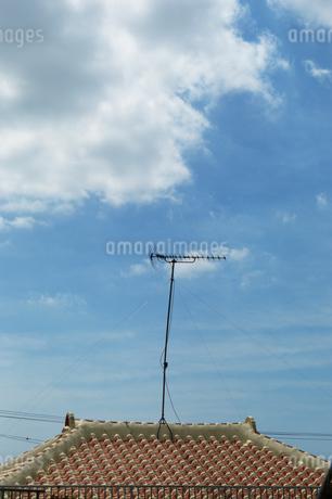 沖縄の瓦屋根から高く伸びるアンテナの写真素材 [FYI01266586]