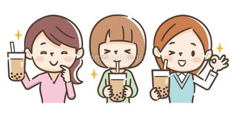 タピオカミルクティーを飲む女の子のイラスト素材 [FYI01266650]