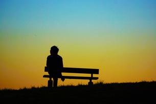 夕暮れの丘のベンチに座る女性の写真素材 [FYI01266885]