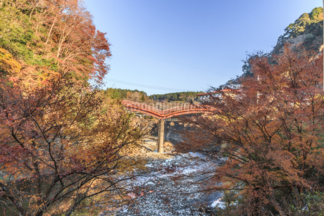 秋の養老渓谷の観音橋の風景の写真素材 [FYI01267231]