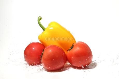 水しぶきを浴びるパプリカとトマトの写真素材 [FYI01267431]