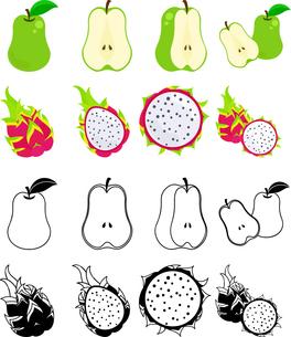 洋梨とドラゴンフルーツの可愛いアイコンのイラスト素材 [FYI01268088]