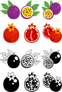 パッションフルーツとザクロの可愛いアイコンのイラスト素材 [FYI01268089]