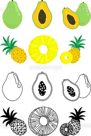 パパイヤとパイナップルの可愛いアイコンのイラスト素材 [FYI01268090]
