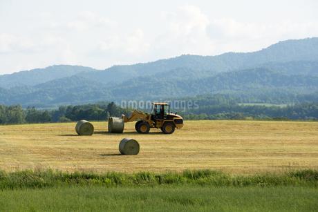 牧草畑の農作業の写真素材 [FYI01268741]