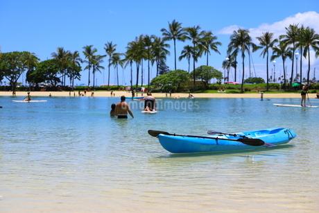ハワイのオアフ島のワイキキビーチ 浅瀬の遊具とヤシの木の写真素材 [FYI01268830]