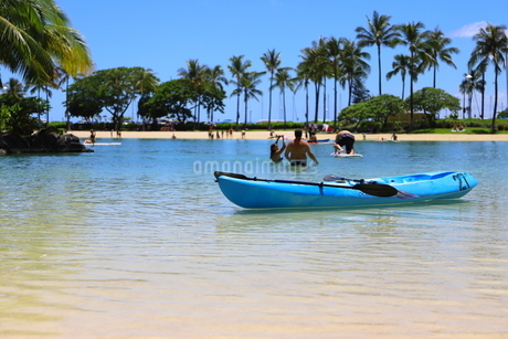 ハワイのオアフ島のワイキキビーチ 浅瀬の遊具とヤシの木の写真素材 [FYI01268831]