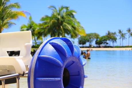 ハワイのオアフ島のワイキキビーチ 浅瀬の遊具とヤシの木の写真素材 [FYI01268832]