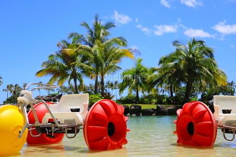 ハワイのオアフ島のワイキキビーチ 浅瀬の遊具とヤシの木の写真素材 [FYI01268839]