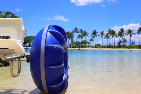 ハワイのオアフ島のワイキキビーチ 浅瀬の遊具とヤシの木の写真素材 [FYI01268846]