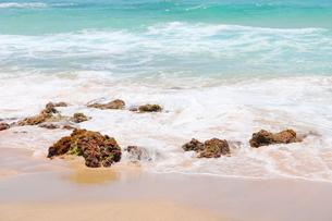 ハワイのオアフ島 エメラルドグリーンの海と砂浜の写真素材 [FYI01268887]