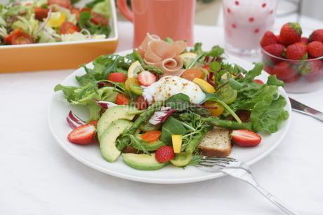 フレッシュ野菜のオープンサンド~温玉のせの写真素材 [FYI01269001]