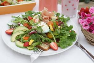 フレッシュ野菜のオープンサンド~温玉のせの写真素材 [FYI01269004]