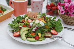 フレッシュ野菜のオープンサンド~温玉のせの写真素材 [FYI01269005]