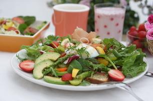 フレッシュ野菜のオープンサンド~温玉のせの写真素材 [FYI01269012]