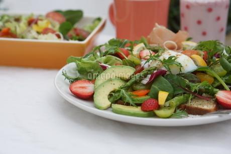 フレッシュ野菜のオープンサンド~温玉のせの写真素材 [FYI01269013]