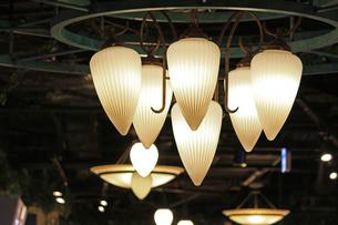 暗い部屋を照らすスタイリッシュな室内照明の写真素材 [FYI01269160]