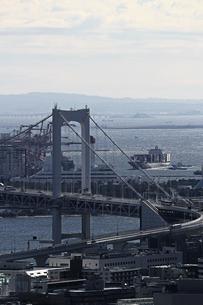 レインボーブリッジが架かる東京ベイエリアの風景の写真素材 [FYI01269190]