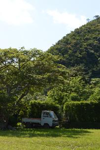 田舎の朽ちた小型トラックと自然の写真素材 [FYI01269367]