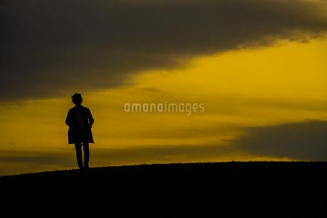 丘に立つ男性のシルエットの写真素材 [FYI01269438]