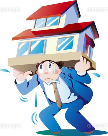 住宅ローンの負担が重い会社員のイラスト素材 [FYI01269697]