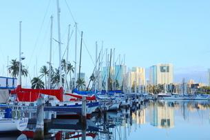 ハワイオアフ島 ヨットハーバー 青い空と青い海の写真素材 [FYI01269860]
