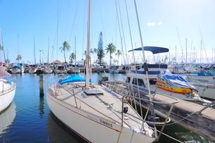 ハワイオアフ島 ヨットハーバー 青い空と青い海の写真素材 [FYI01269870]