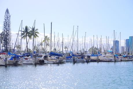 ハワイオアフ島 ヨットハーバー 青い空と青い海の写真素材 [FYI01269873]