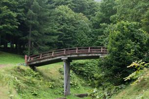 緑の谷にかかる木造の橋の写真素材 [FYI01270396]