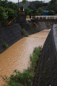 南国沖縄の豪雨で赤土の影響で川が赤くなるの写真素材 [FYI01270460]