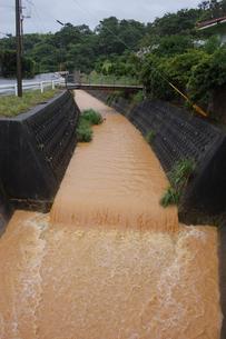南国沖縄の豪雨で赤土の影響で川が赤くなるの写真素材 [FYI01270461]