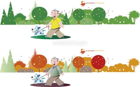 老後の散歩、夏と秋のイラスト素材 [FYI01270757]