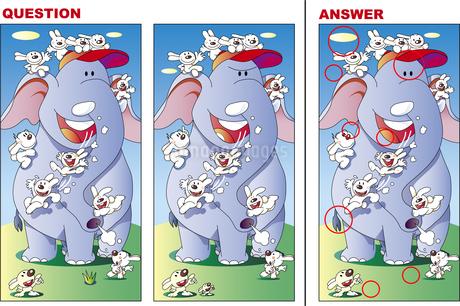 間違い探しクイズ、ウサギとぞうは仲良しのイラスト素材 [FYI01270799]